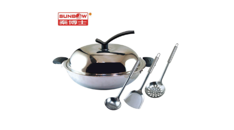 【秦博士】三合金五層中華炒鍋+湯勺組合 S5P2355+SC303