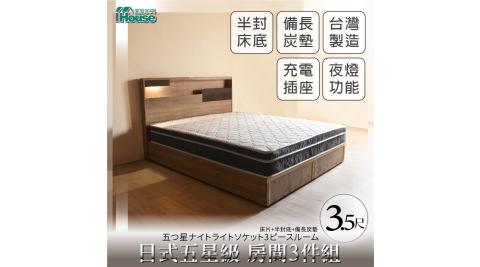 IHouse-日系夢幻100 五星級 房間3件組(床片+半封底+備長炭墊)-單大3.5尺