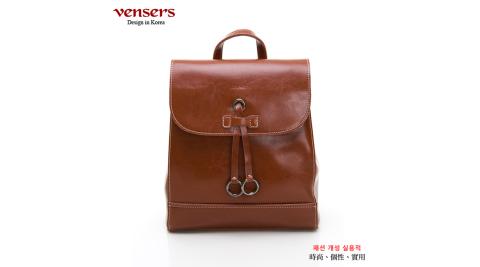 【vensers】小牛皮潮流個性後背包(NL1085201棕色)