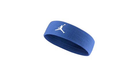 NIKE JORDAN JUMPMAN 單色頭帶-飛人喬登 籃球 NBA 一條入 藍白@JKN00400OS@