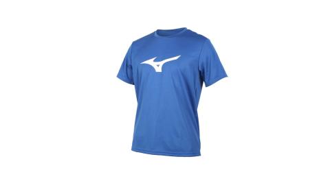 MIZUNO LOGO男短袖T恤-慢跑 路跑 藍白淺灰@32TA000122@