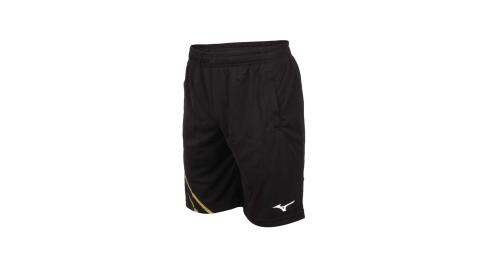 MIZUNO 男羽球短褲-針織 台灣製 吸濕排汗 運動 訓練 慢跑 美津濃 黑黃白@72TB0A1694@