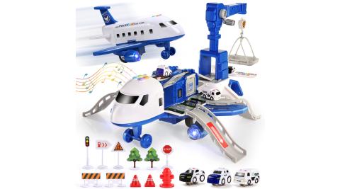 CuteStone 警察變形飛機聲光組合玩具