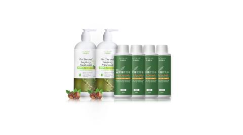 MONSA 茶樹無患子防護洗手乳500ML*2+茶樹防護乾洗手凝露型100ML*4 組合