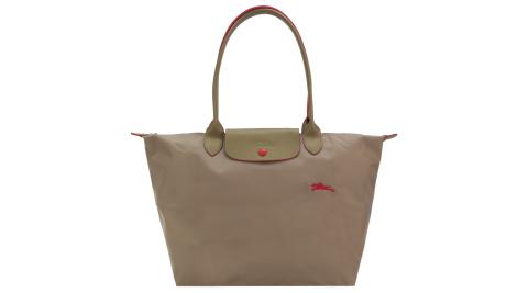 LONGCHAMP Le Pliage Collection刺繡長把摺疊水餃包(大/棕)