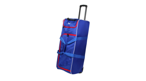 MIZUNO 拖輪袋-台灣製 行李袋 其它裝備袋 92.6L 美津濃 藍紅@1FTD0X1916@