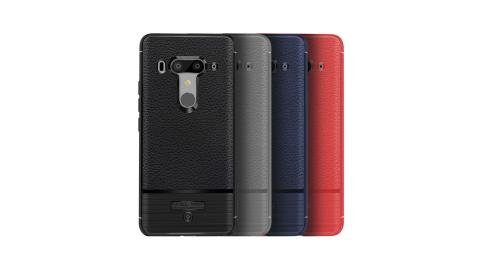 VXTRA HTC U12+/U12 Plus 防滑手感皮紋 軟性手機殼