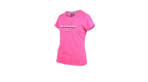 FIRESTAR 女吸濕排汗圓領短袖T恤-慢跑 路跑 螢光粉白黑@DL961-45@