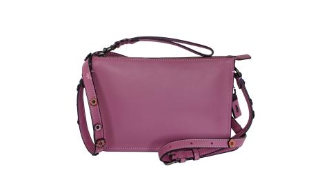 COACH乾燥紫經典棒球手套全皮花朵背帶手掛/斜背小包