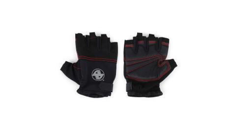 ALEX 多功能運動手套-短指手套 重量訓練 健身 黑銀紅@A-39@