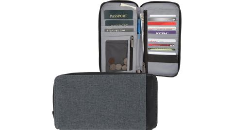 《TRAVELON》皮革拼接拉鍊防護護照夾(岩灰)