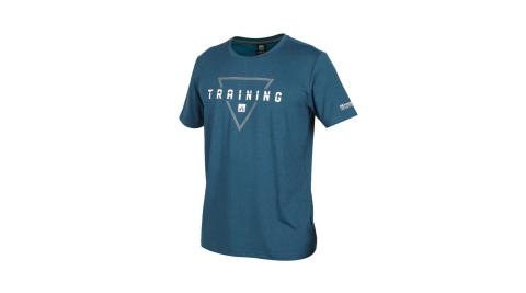 FIRESTAR 男彈性印花圓領短袖T恤-吸濕排汗 慢跑 路跑 運動上衣 墨藍灰白@D0537-98@
