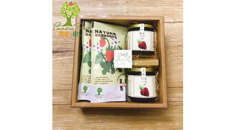 《樂園.樹》無農藥莓果禮盒(草莓果醬x2+草莓果乾x2+附提袋)