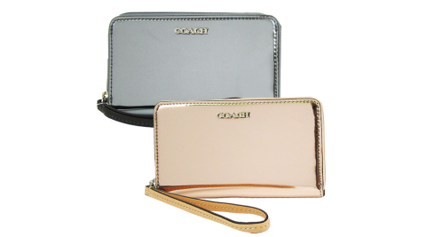 COACH ㄇ型拉鍊鏡面漆皮手拿包(2色)