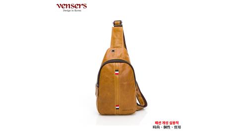 【vensers】小牛皮潮流個性胸包(N302302黃油皮)