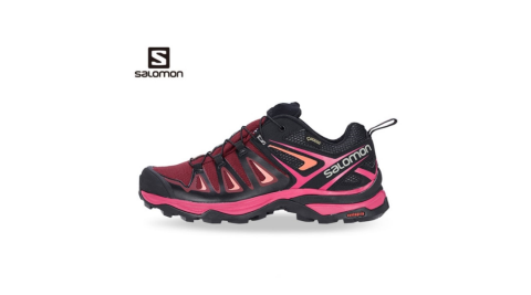 【SALOMON 索羅門】女鞋 X ULTRA 3 MID GTX 低筒登山鞋 珊瑚紅 2018 新款 gore-tex 防水 L39868100