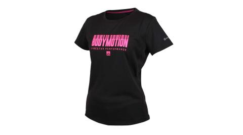 FIRESTAR 女吸濕排汗印花圓領短袖T恤-慢跑 路跑 黑粉紅@DL061-45@
