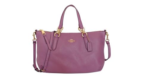 COACH乾燥紫荔枝紋全皮抓皺手提/肩斜背托特包