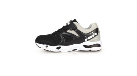 DIADORA 男女童歐風運動鞋-3E-路跑 慢跑 寬楦 黑灰@DA9AKC7910@