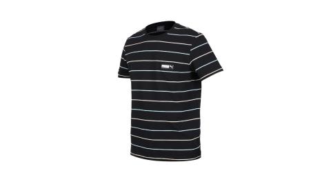 PUMA 男基本系列條紋短袖T恤-休閒 亞規 慢跑 短袖上衣 黑水藍卡其@58268401@