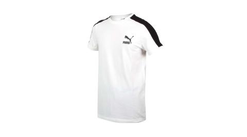 PUMA 男T7短袖T恤-歐規 慢跑 路跑 上衣 運動 白黑@59986902@