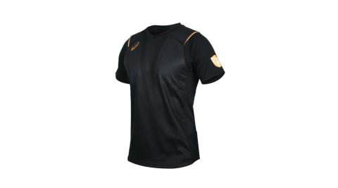 ASICS 男機能排球短袖T恤-訓練 排汗 亞瑟士 黑灰金@2051A112-001@