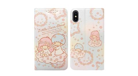 三麗鷗授權 Kikilala 雙子星 iPhone Xs Max 6.5吋 粉嫩系列彩繪磁力皮套(花圈)