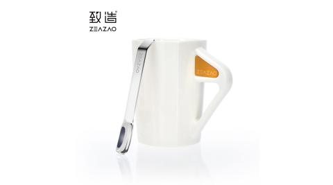 致造ZEAZAO 致在杯 強磁吸附帶勺馬克杯 陶瓷馬克杯 咖啡杯 帶刻度攪拌棒 禮物