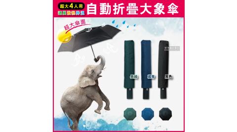 【生活良品】日系極簡4人用雙層風力散熱自動摺疊開收大象傘(贈同色雨傘套)