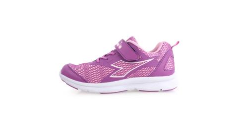 DIADORA 男女大童慢跑鞋-寬楦-路跑 訓練 魔鬼氈 童鞋 紫粉@DA9AKR7207@