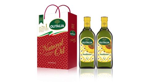 【Olitalia奧利塔】頂級葵花油禮盒1組(1000ml2罐/組;共2罐)