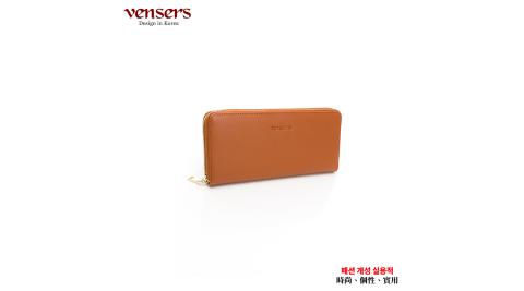 【vensers】小牛皮潮流個性皮夾(TA887515棕色長夾)