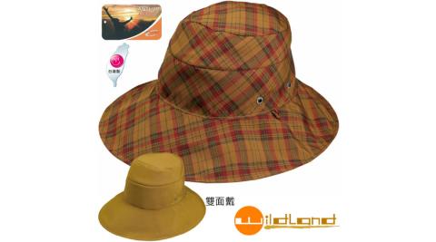 【荒野 WildLand】中性抗UV雙面可戴遮陽帽.圓盤帽.漁夫帽.防曬帽.排汗帽.休閒帽/W1016 駱黃色