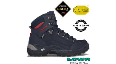 【德國 LOWA】女新款 歐洲製造 RENEGADE GTX 中筒防水透氣多功能健行鞋_登山鞋 LW320945-6962 深藍/磚紅