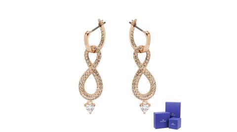 SWAROVSKI 施華洛世奇 Infinity璀燦水晶無限造型玫瑰金耳環 5512625