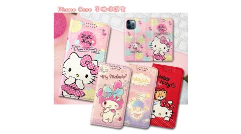 三麗鷗授權 凱蒂貓/雙子星/美樂蒂 iPhone 12 / 12 Pro 6.1吋 共用 緞帶彩繪磁力皮套