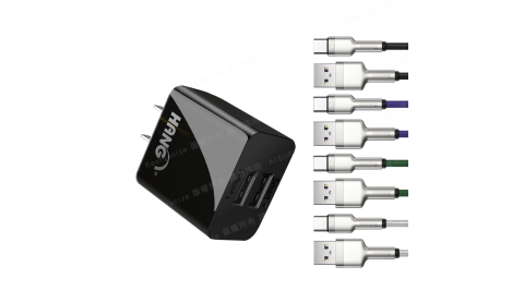 HANG C14 雙USB 2.1A快速充電器(黑)+倍思 鋁合金卡福樂 for Type-C 2.4A充電傳輸線