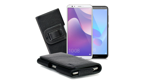 Xmart for HUAWEI Y7 Prime / Y6 / A6+ 麗緻真皮腰掛皮套