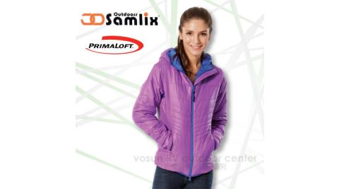 【山力士 SAMLIX】女 Primaloft 輕量保暖外套.休閒外套.防風.防潑水(非羽絨外套)/紅紫 36813