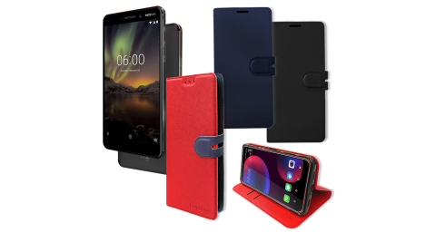 CITY都會風 全新 Nokia 6 (2018) 插卡立架磁力手機皮套 有吊飾孔