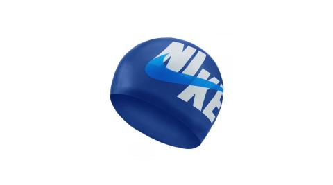NIKE SWIM 成人矽膠泳帽-游泳 戲水 海邊 沙灘 丈青藍白@NESSA203-424@