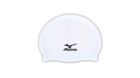 MIZUNO SWIM矽膠泳帽 -彈性泳帽 海灘 戲水 游泳 美津濃 白黑@N2MW405301@