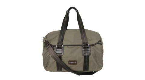 【精品週】agnesb.皮標雙槓環扣旅行袋(卡其棕)