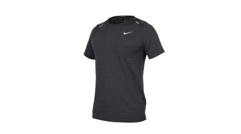 NIKE 男運動短袖T恤- DRI-FIT 反光 慢跑 路跑 運動 上衣 黑銀@CJ5345-010@