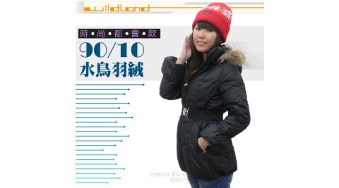 【荒野 wildland 】女款 中長版 貉子毛單件式保暖羽絨外套/大衣.保暖外套.羽絨衣_92107 黑色