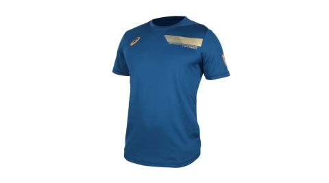 ASICS 男機能排球短袖T恤-排汗 亞瑟士 墨藍金@2051A108-401@