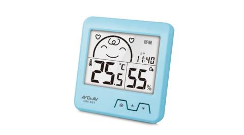 【Dr.AV 聖岡科技】日式超大螢幕溫濕度計-藍(GM-851)