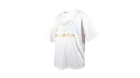 NEWBALANCE 女寬鬆短袖T恤-純棉 慢跑 路跑 上衣 休閒 NB 大LOGO 白金@AWT03505WT@