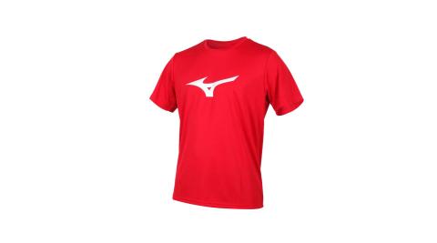 MIZUNO LOGO男短袖T恤-慢跑 路跑 紅銀@32TA000162@