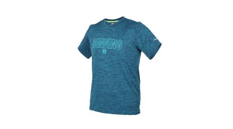 FIRESTAR 男短袖吸排圓領衫-短T T恤 慢跑 路跑 麻花藍黑@D8037-98@